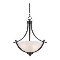 Lumenno International Series 8002 3 Light Pendant in  Bronze with White Swirl Alabaster Glass 8002-02-20