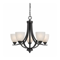 Lumenno International Series 8002 5 Light Chandelier in  Bronze with White Swirl Alabaster Glass 8002-03-05