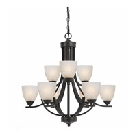 Lumenno International Series 8002 9 Light Chandelier in  Bronze with White Swirl Alabaster Glass 8002-03-09