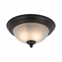Lumenno International Series 8002 2 Light Flush Mount in  Bronze with White Swirl Alabaster Glass 8002-06-14