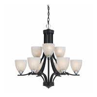 Value Series 8004 9 Light 28 inch Black with Chrome Accents Chandelier Ceiling Light