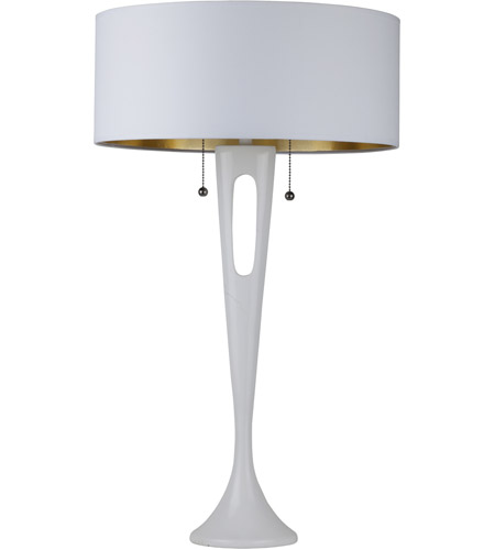 Lights UP 281WH-MWG Soiree 31 inch 60 watt White Lacquer Table Lamp Portable Light in Metallic White & Gold photo thumbnail