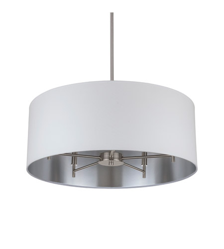 Lights UP 9050BN-MWS Walker LED 5 inch Brushed Nickel Chandelier Ceiling Light in Metallic White & Silver photo