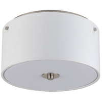 Lights UP Signature 2 Light Flushmount in Brushed Nickel with White Linen Shade 010BN-WHT
