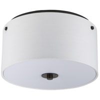 Lights UP Signature 2 Light Flushmount in Oil Rubbed Bronze with White Linen Shade 010OB-WHT