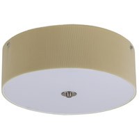 Lights Up Signature 3 Light Flush Mount in Brushed Nickel with Chamois Pleated Parchment Shade 016BN-PPC