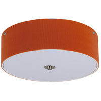 Lights Up Signature 3 Light Flush Mount in Brushed Nickel with Tangerine Pleated Parchment Shade 016BN-PPG