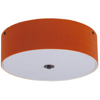 Lights Up Signature 3 Light Flush Mount in Oil Rubbed Bronze with Tangerine Pleated Parchment Shade 016OB-PPG