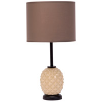 Lights UP Pineapple 1 Light Table Lamp in Coconut Glass with Cocoa Chintz Shade 291CG-CCC