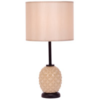 Lights UP Pineapple 1 Light Table Lamp in Coconut Glass with Eggshell Silk Glow Shade 291CG-EGG