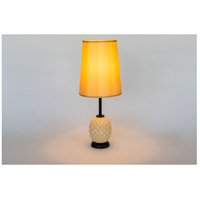 Lights UP Pineapple 1 Light Table Lamp in Coconut Glass with Gold Silk Glow Shade 291CG-GOL