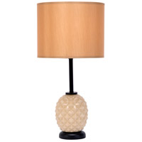Lights UP Pineapple 1 Light Table Lamp in Coconut Glass with Honey Silk Glow Shade 291CG-HON