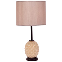 Lights UP Pineapple 1 Light Table Lamp in Coconut Glass with Pebble Silk Glow Shade 291CG-PEB