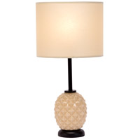 Pineapple 20 inch 60 watt Coconut Glass Table Lamp Portable Light in Chamois Parchment