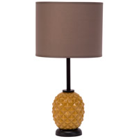 Lights UP Pineapple 1 Light Table Lamp in Pineapple Glass with Cocoa Chintz Shade 291PG-CCC