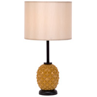 Lights UP Pineapple 1 Light Table Lamp in Pineapple Glass with Eggshell Silk Glow Shade 291PG-EGG