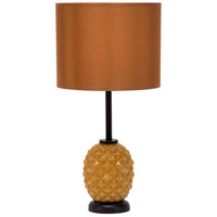 Lights UP Pineapple 1 Light Table Lamp in Pineapple Glass with Gold Silk Glow Shade 291PG-GOL