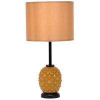 Lights UP Pineapple 1 Light Table Lamp in Pineapple Glass with Honey Silk Glow Shade 291PG-HON