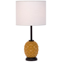 Lights UP Pineapple 1 Light Table Lamp in Pineapple Glass with Ivory Ipanema Shade 291PG-IVY