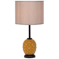 Lights UP Pineapple 1 Light Table Lamp in Pineapple Glass with Pebble Silk Glow Shade 291PG-PEB