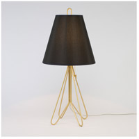 Lights UP Flight 1 Light Table Lamp in Gold with Black Silk Glow Shade 347GD-BKG