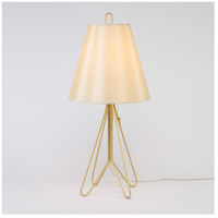Lights UP Flight 1 Light Table Lamp in Gold with Eggshell Silk Glow Shade 347GD-EGG
