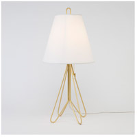 Lights UP Flight 1 Light Table Lamp in Gold with White Linen Shade 347GD-WHT