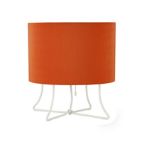 Lights Up Signature 1 Light Table Lamp in White Powder Coat with Tangerine Pleated Parchment Shade 400PW-PPG