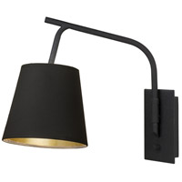 Lights UP 4055PB-FBB Walker 100 watt Black Powder Coat Swing Arm Sconce Wall Light