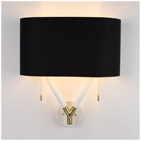 Blip LED 5 inch Brass & White Lacquer ADA Sconce Wall Light in Metallic Black & Gold