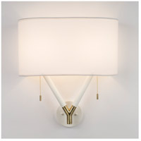 Blip LED 5 inch Brass & White Lacquer ADA Sconce Wall Light in White Linen