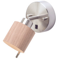 Guppy LED 3 inch Brushed Nickel ADA Sconce Wall Light in Walnut Veneer