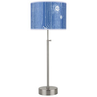 Lights UP 434BN-FBB Cancan 21 inch 75 watt Brushed Nickel Table Lamp Portable Light in Faux Bois Marine