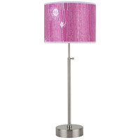 CanCan 21 inch 75 watt Brushed Nickel Table Lamp Portable Light in Faux Bois Fuschia