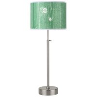 CanCan 21 inch 75 watt Brushed Nickel Table Lamp Portable Light in Faux Bois Kelly