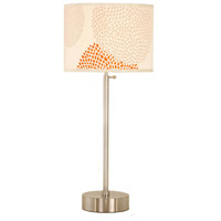 Lights UP CanCan 1 Light Table Lamp in Brushed Nickel with Red Mumm Shade 434BN-RDM