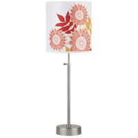Lights UP CanCan 2 1 Light Table Lamp in Brushed Nickel with Anna Red Shade 435BN-ANR