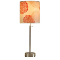 Lights UP CanCan 2 1 Light Table Lamp in Brushed Nickel with Red Mumm Shade 435BN-RDM