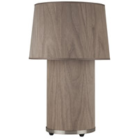 Lights UP 452BN-WWD Mombo 24 inch 75 watt Brushed Nickel Table Lamp Portable Light in Walnut Veneer
