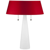 Lizzie 22 inch 60 watt Bisque Ceramic Table Lamp Portable Light in Red Dupioni