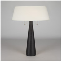Lights Up Signature 1 Light Table Lamp in Cast Iron Ceramic with Ivory Ipanema Shade 502CI-IVY