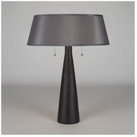 Lights Up Signature 1 Light Table Lamp in Cast Iron Ceramic with Platinum Silk Glow Shade 502CI-PLA