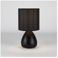Lights Up Signature 1 Light Table Lamp in Cast Iron Ceramic with Black Silk Glow Shade 506CI-BKG
