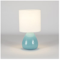 Lights Up Signature 1 Light Table Lamp in Teal Crackle Ceramic with Ivory Ipanema Shade 506TC-IVY