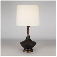 Lights Up Signature 1 Light Table Lamp in Cast Iron Ceramic with Ivory Ipanema Shade 507CI-IVY