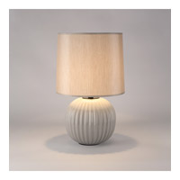 Lights Up Signature 1 Light Table Lamp in Coventry Grey with Pebble Silk Glow Shade 511CV-PEB