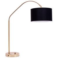 Lights UP 569BB-BKG Belle Arc 32 inch 60 watt Brass Table Lamp Portable Light in Black Silk Glow