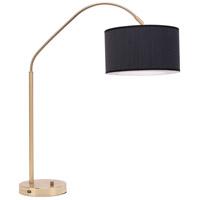 Lights UP 569BB-EWD Belle Arc 32 inch 60 watt Brass Table Lamp Portable Light in Ebony Veneer