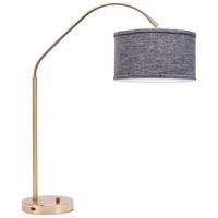 Lights UP 569BB-PEN Belle Arc 32 inch 60 watt Brass Table Lamp Portable Light in Penguin Tweed