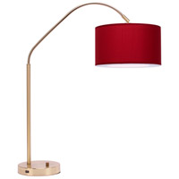 Lights UP 569BB-RDP Belle Arc 32 inch 60 watt Brass Table Lamp Portable Light in Red Dupioni